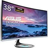 """ASUS Designo Curve MX38VC 37.5"""" Monitor Uwqhd IPS Eye Care with Qi Charging, DP, HDMI, Adaptive-Sync, Space Gray + Black"""