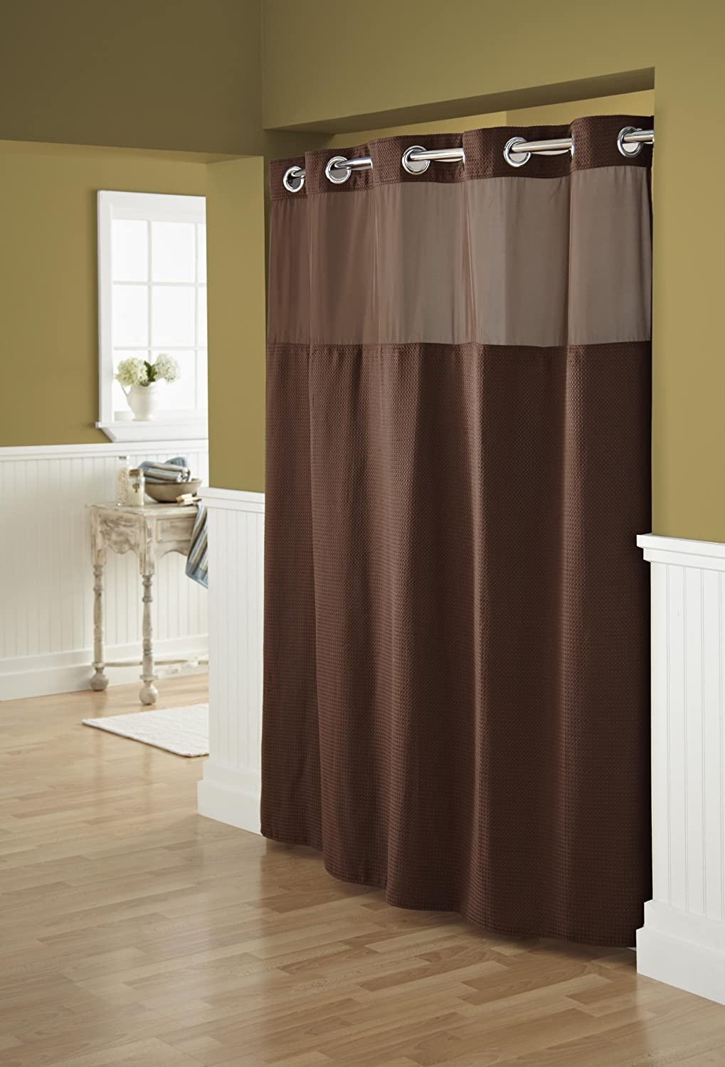 Hookless fabric shower curtain with built in liner taupe diamond pique - Amazon Com Hookless Rbh52d229 Fabric Shower Curtain With Built In Liner Chocolate Brown Home Kitchen