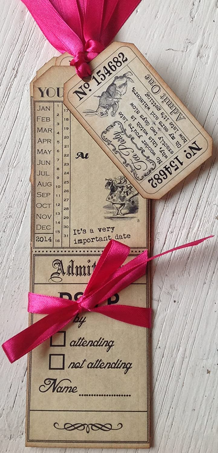 Party in Style Vintage Alice in Wonderland Tag Style Invitations ...