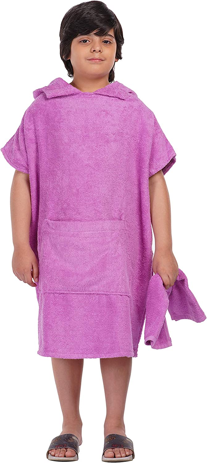 ALLEN /& MATE Kids 100/% Cotton Hooded Towel Poncho Changing Robe with Pockets Ideal for Swimming Surfing and Bathing Beach Holidays