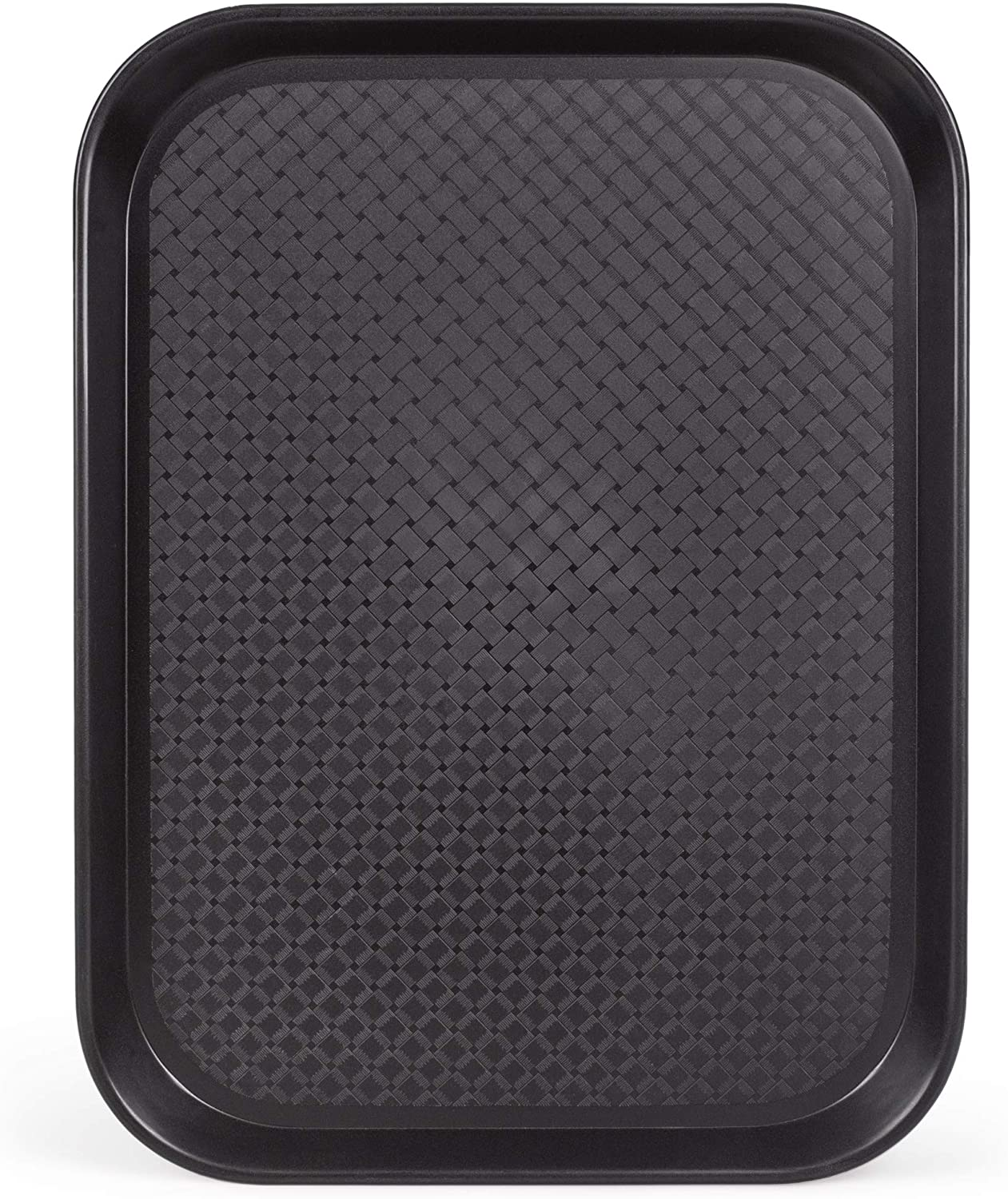 Fast Food Cafeteria Tray | 12 x 16 Rectangular Textured Plastic Food Serving TV Tray | School Lunch, Diner, & Commercial Kitchen Restaurant Equipment (Black)
