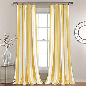 "Lush Decor, Yellow Wilbur Stripe Room Darkening Window Curtain Panel Pair, 95"" x 52"", 95"" L"