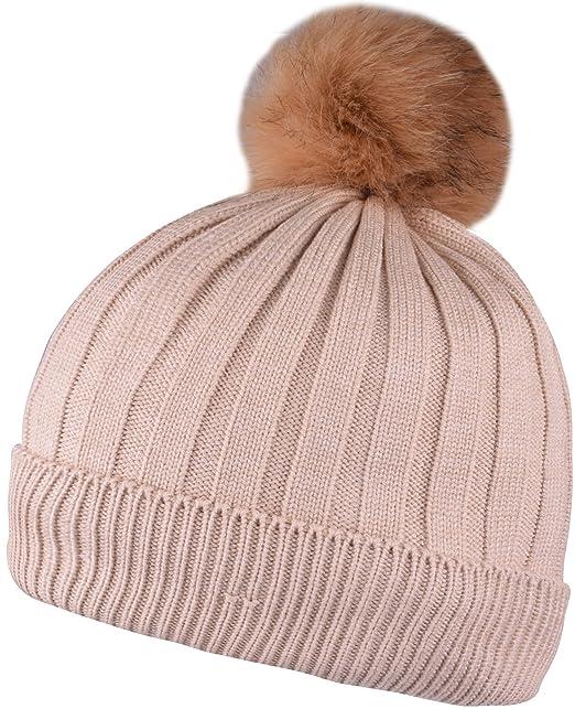 f3d99320eb7 WDSKY Womens Winter Beanie Hat Rib Knit with Pom Pom Fleece Lined Beige at Amazon  Women s Clothing store