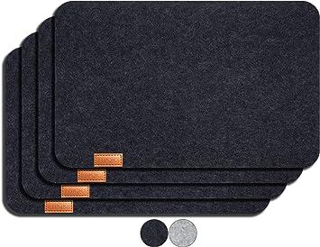 Miqio® - Design Platzset - Filz und Leder - 4 waschbare Premium Tischsets/Untersetzer (dunkelgrau anthrazit)