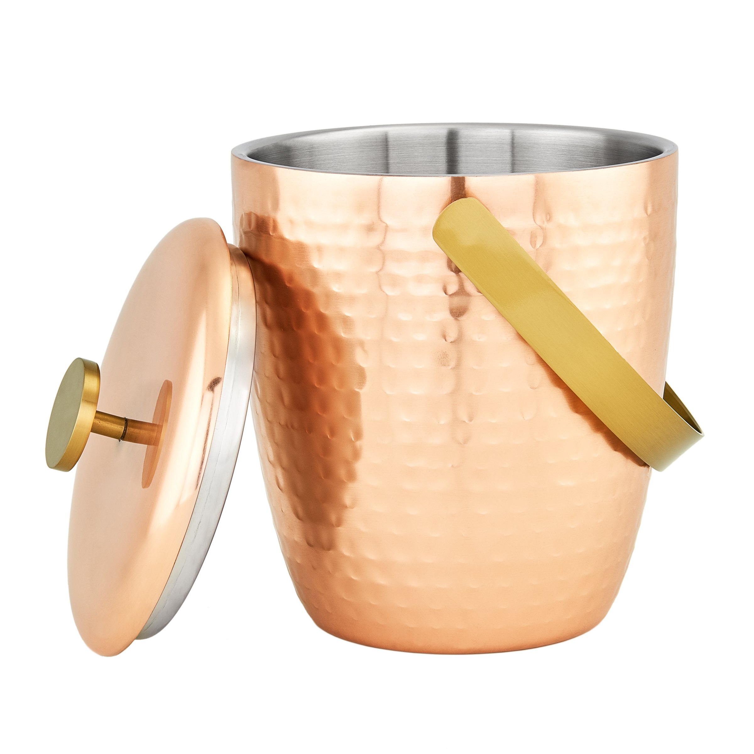 """Aura"" Hammered Copper Double Walled Ice Bucket, 2⅓ Qt."