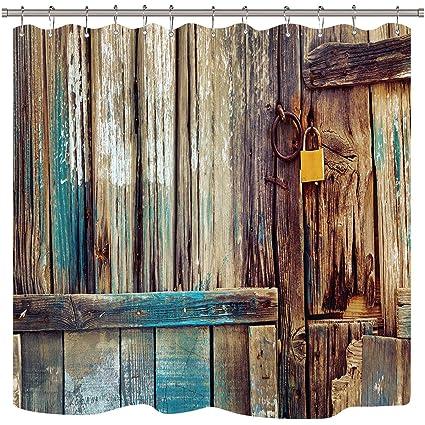 Riyidecor Rustic Wooden Barn Door Shower Curtain Free Metal Hooks 12 Pack  Garage Antique Weathered