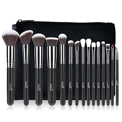 MSQ Makeup Brush Set 15pcs Professional Cosmetic Brushes with Makeup bag for Foundation, Powder, BB Cream, Eyeliner, Concealer Best for Gifts & Travel