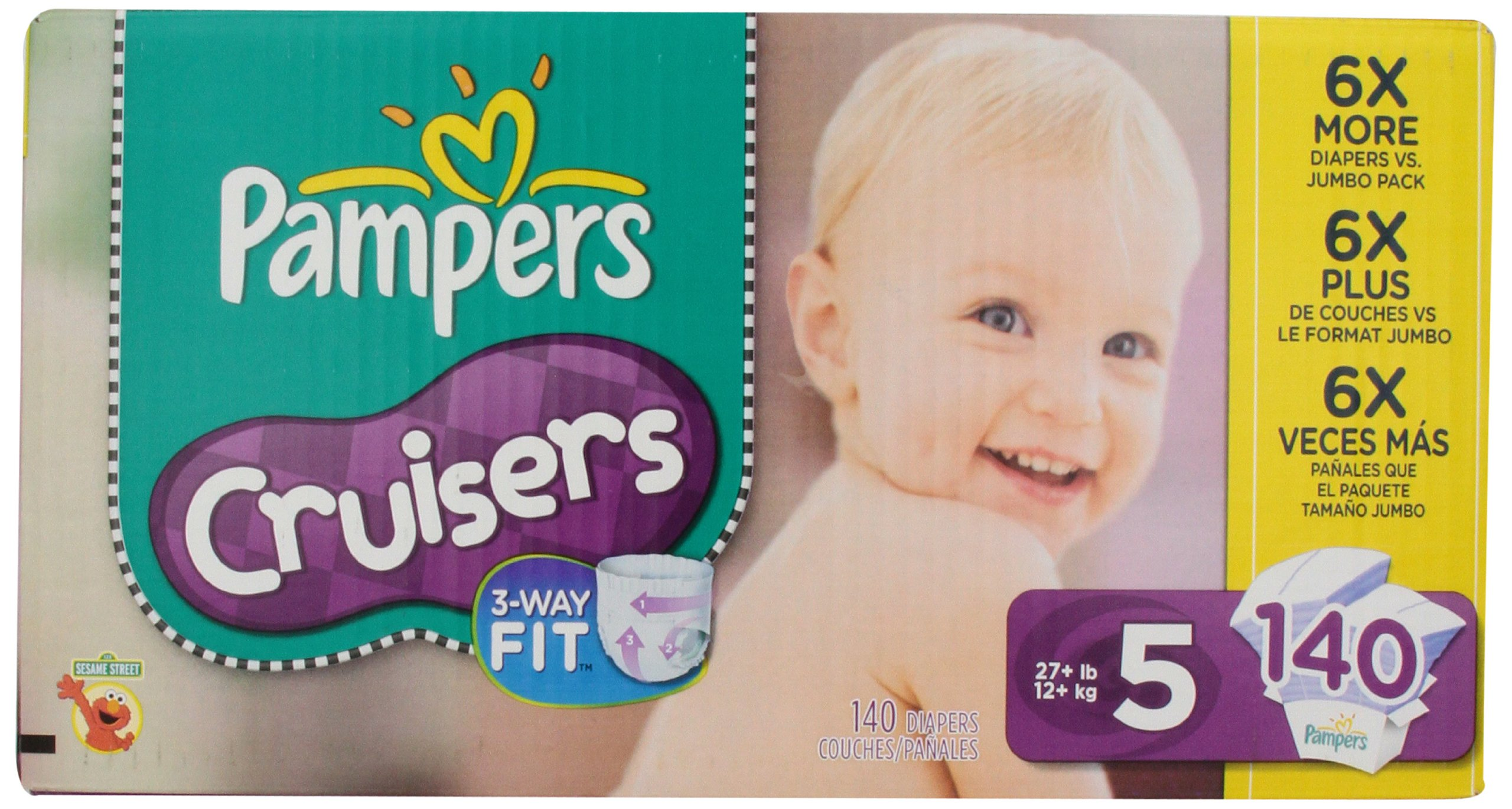 Pampers Cruisers Diapers Size 5 Economy Pack Plus. 140 Count product image
