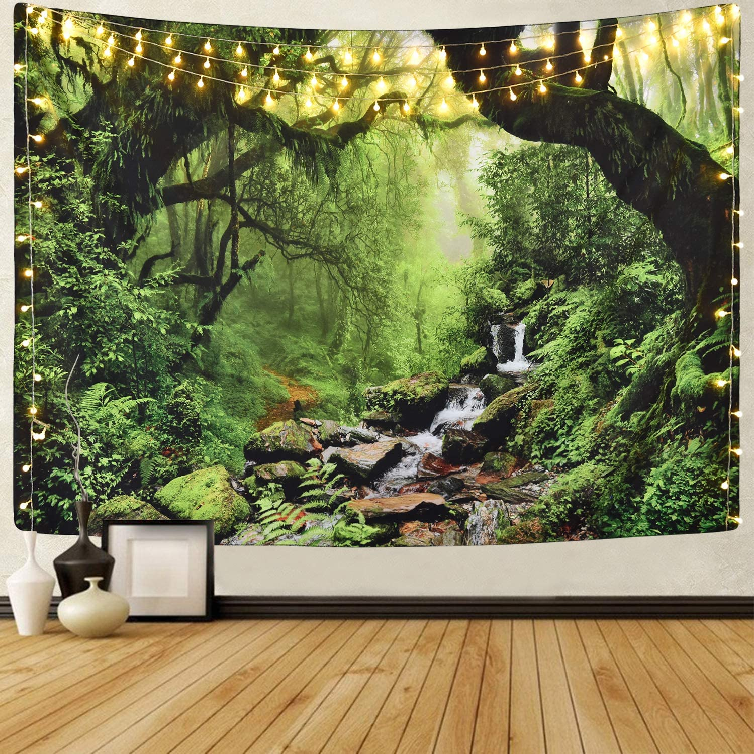 Sevenstars Rainforest Landscape Tapestry Wall Hanging Green Forest Tapestry Road Trees Tapestry Nature Scenery Misty Tapestry for Bedroom Living Room