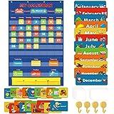 Classroom Calendar Pocket Chart, School Calendar for Kids Learning for Home Homeschool Teacher Supplies for Classroom Element