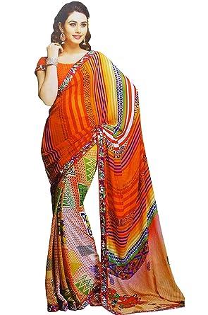 538f4fb85a Traditional Indian Sari Georgette Women Wear Fashion Sarees Ethnic  Bollywood Latest Sari: Amazon.co.uk: Clothing