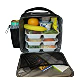 Amazon Price History for:Insulated Lunch Bag for Men Women Adult Large Lunch Box by LeDish - Black Square Cooler Tote Bag with Adjustable Shoulder Strap and pockets - Best Reusable Lunchbox