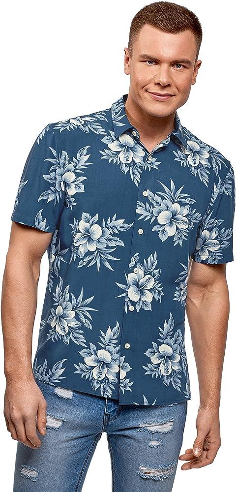 oodji Ultra Hombre Camisa Recta con Estampado Floral, Azul, 46-48: Amazon.es: Ropa y accesorios