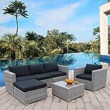 Polar Aurora 6pcs Patio Furniture Set PE Gray Rattan Wicker Sectional Outdoor Sofa Set Outside Couch w/Black Washable Seat Cu