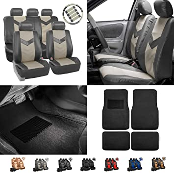 FH Group CM302 2009 2011 Toyota Corolla Leather Black Custom Fit Seat Covers Full Set