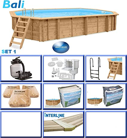 Interline 50700251 Bali a y 96188 Pool Set 1 Madera pared ovalado ...
