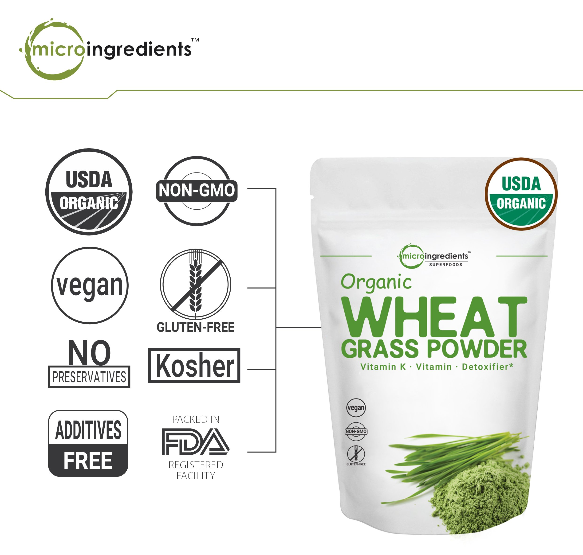 Sustainably US Grown, Organic Wheat Grass Powder, 150 Serving (1 Pound), Rich Fiber, Chlorophyll, Antioxidants, Essential Amino Acids, Fatty Acids, Minerals & Vitamins. Best Vegan & Non-GMO SuperFoods by Micro Ingredients (Image #5)