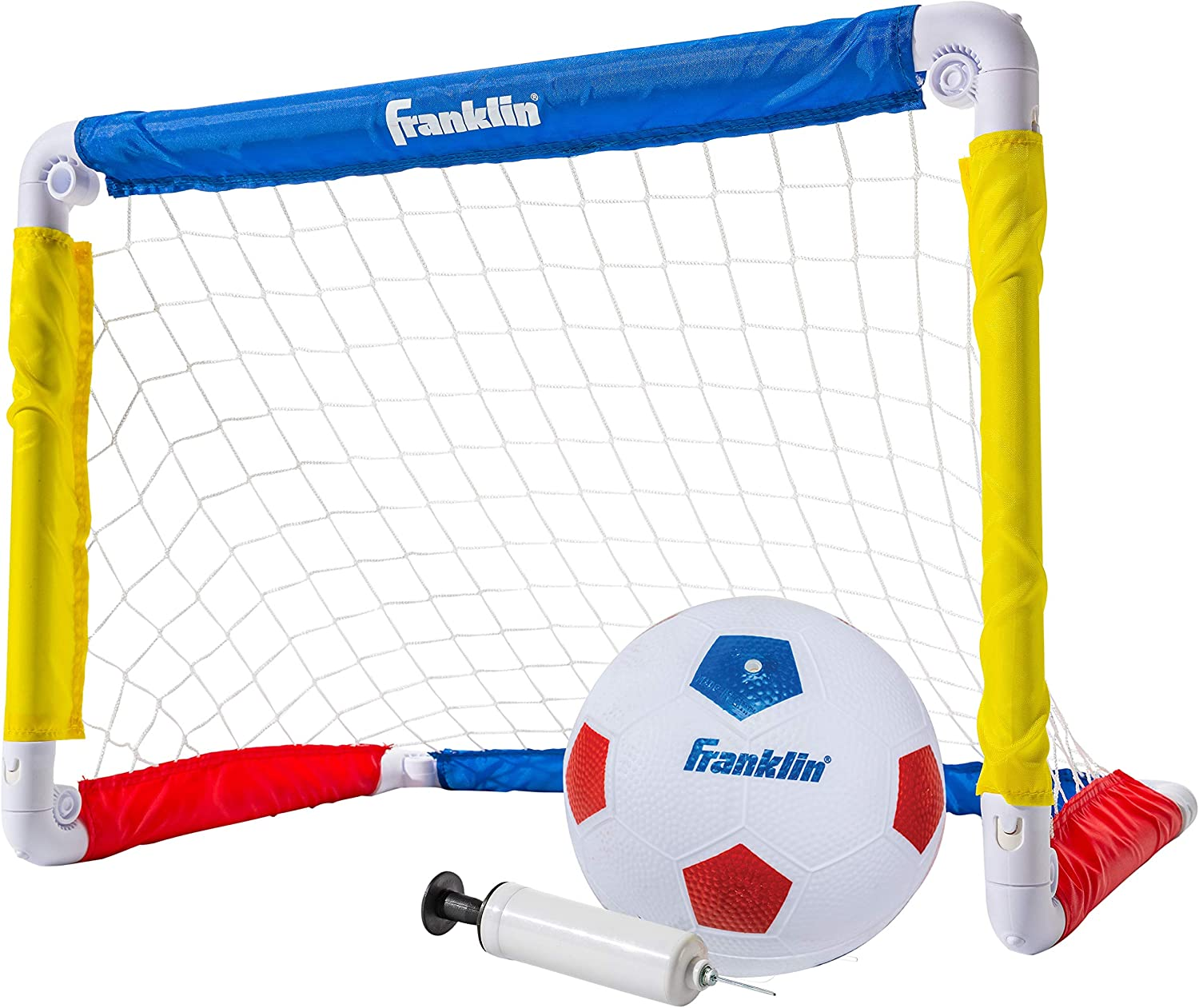 "Franklin Sports Kids Mini Soccer Goal Set - Backyard/Indoor Mini Net and Ball Set with Pump - Portable Folding Youth Soccer Goal Set - 24"" x 16"": Toys & Games"