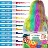 HAIR CHALK FOR GIRLS – & BOYS, 12 Temporary Hair Colour for Kids, Vibrant & Washable Hair Dye Pens, Works on Dark or Blond Hair, Set, Girls Hair Accessories Toy Crayons