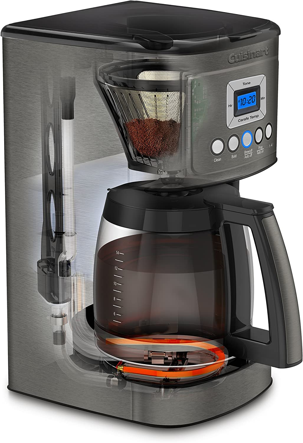 Cuisinart DCC-3200BKSP1 Perfectemp Coffee Maker, 14 Cup Progammable with Glass Carafe, Black Stainless Steel