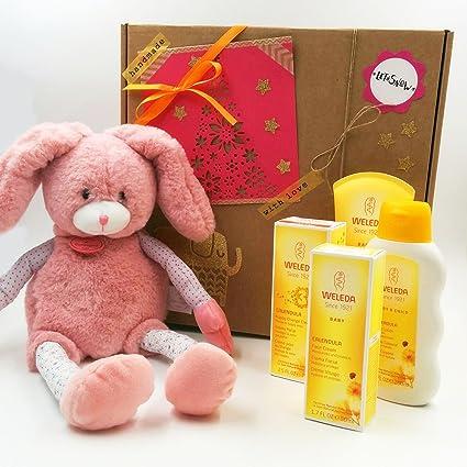 Regalo para Recién Nacidos con 4 Productos Weleda y un Peluche Doudou et Compagnie (40