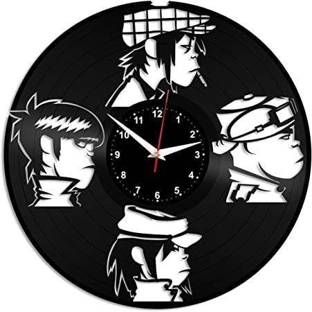 EVEVO Gorillaz Reloj de Pared Vinilo Tocadiscos Retro de Reloj ...