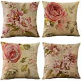 WOMHOPE Set of 4 Vintage Flower Throw Pillow Covers Pillow Cases Cushion Cases Burlap Toss 18 x 18 Inch for Living Room,Couch