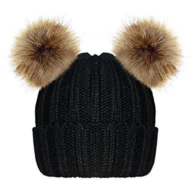 06e409885 TOSKATOK Ladies Womens Girls Knitted Ribbed Winter Beanie Bobble Hat with  Twin Faux Fur Pom Pom