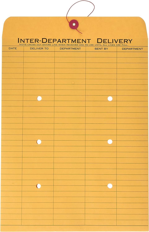 Quality Park 1-Side Print Interoffice Envelopes, String-Tie, Brown Kraft, 10 x 13, 100 per Carton, (63563)