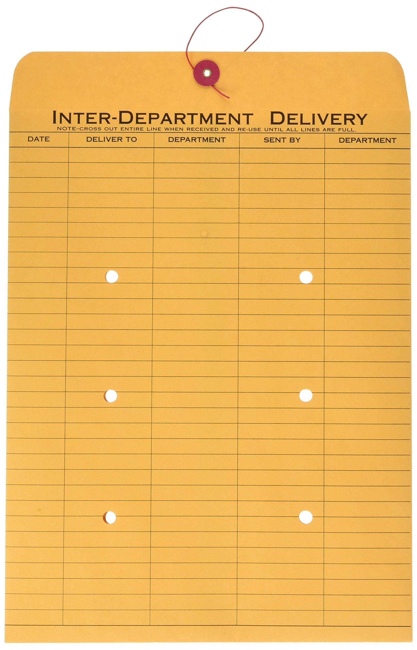 Quality Park 1-Side Print Interoffice Envelopes, String-Tie, Brown Kraft, 10 x 13, 100 per Carton, (63563) by Quality Park