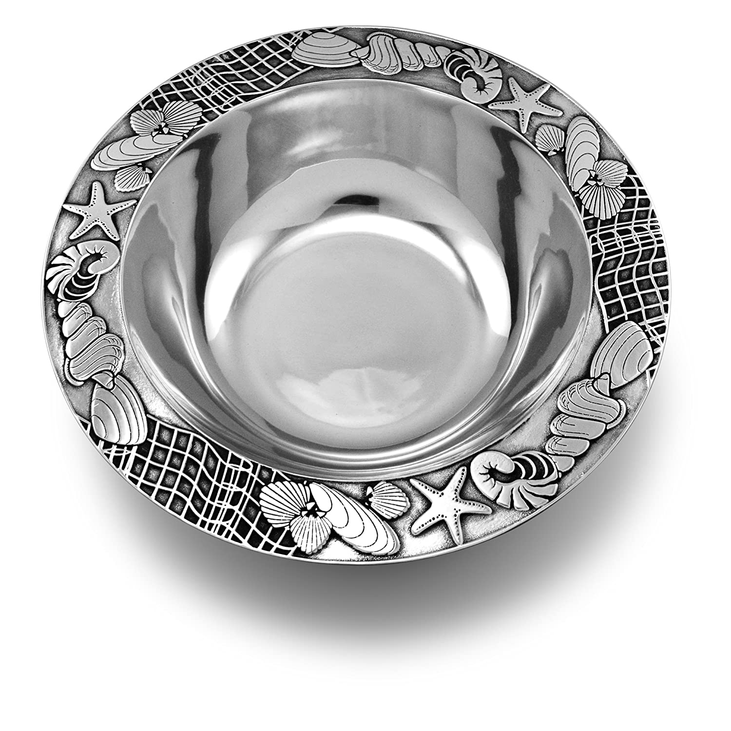 Coastal Christmas Tablescape Décor - Seashore medium round silver aluminum alloy serving bowl by Designer Wilton Armetale