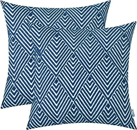 Amazon Com Hwy 50 Decorative Throw Pillow Covers Embroidered Dark Blue Square Pillow Cover Set Cushion Cases For Couch Sofa Living Room Accent Farmhouse Decor 18 X 18 Inch Maze Pattern Pack Of
