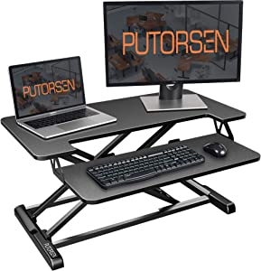 Standing Desk Converter with Height Adjustable – PUTORSEN 32 inch Stand Up Desk, Ergonomic Sit Stand Dual Monitor and Laptop Riser Tabletop Workstation Black