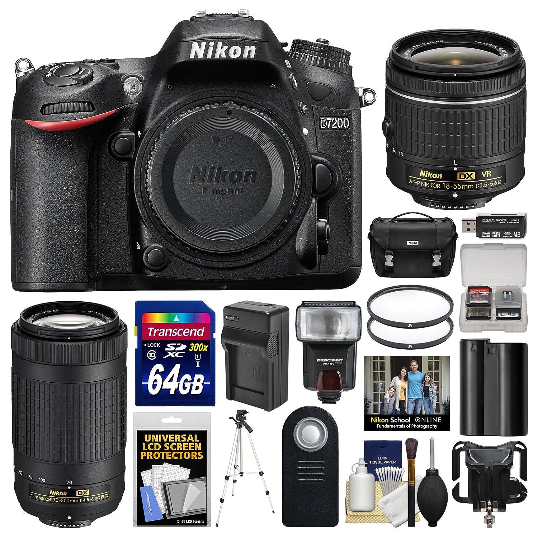 Nikon D7200 Digital SLR Camera with 18-55mm VR & 70-300mm DX AF-P Lenses + Case + 64GB Card + Flash + Battery & Charger + Tripod + Filters + Remote Kit