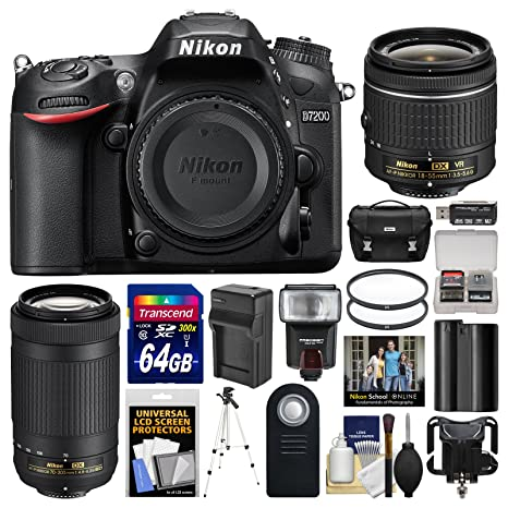 Nikon D7200 cámara réflex Digital con 18 55mm VR & 70 300 mm DX AF ...