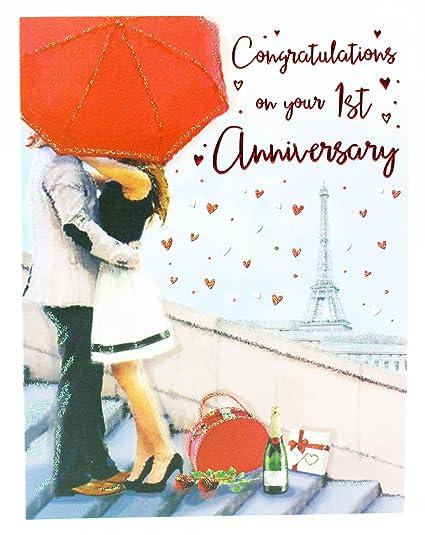 Auguri Per Primo Anniversario Di Matrimonio.1st Anniversario Di Matrimonio Biglietto D Auguri A Coppia