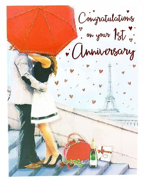 Anniversario Di Matrimonio Un Anno.1st Anniversario Di Matrimonio Biglietto D Auguri A Coppia