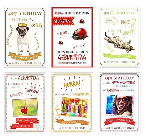 Set 6 Humorvolle Biglietti Di Compleanno Con Scritte Divertenti