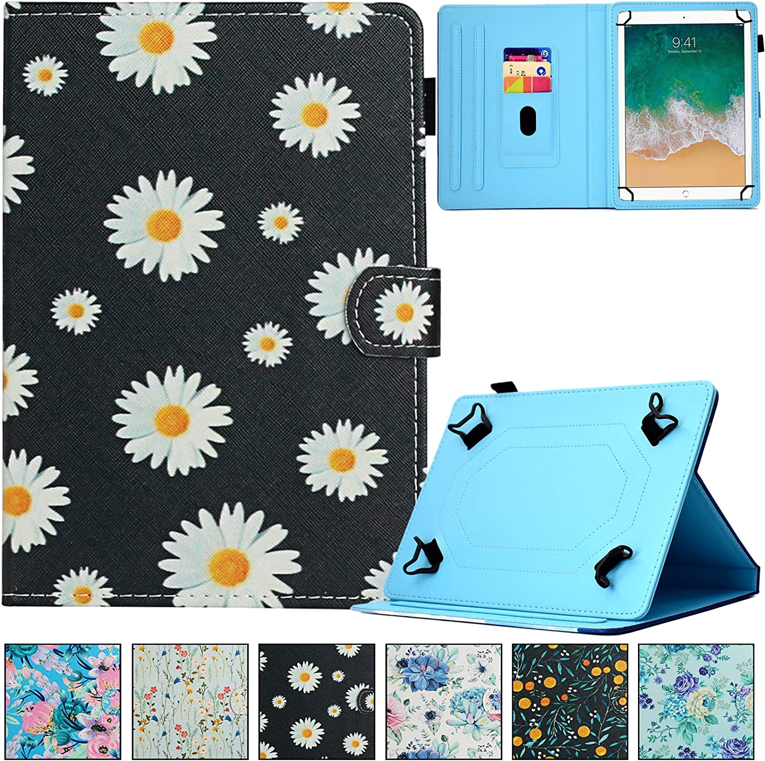 Universal Case for 9.0-10.5 inch Tablet,REASUN Slim Folio PU Leather Card Slot Wallet Shell for Apple/Samsung/Kindle/Huawei/Lenovo/Android/Dragon Touch 9.7 9.6 10.1 10.5 Inch Tablet (Daisy)