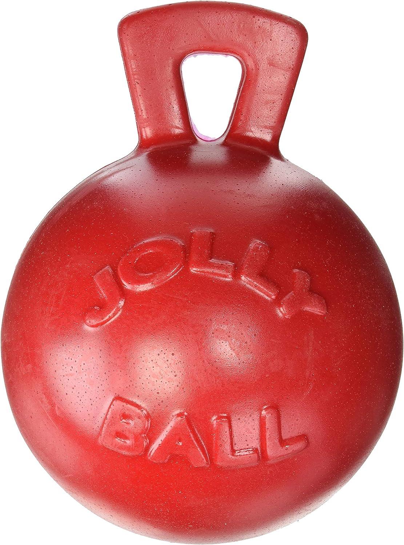 Jolly Pets Tug-n-Toss - Heavy Duty Chew Ball w/ Handle (Red, 8