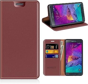 MOBESV Funda Samsung Galaxy Note 4, Funda Cuero, Carcasa en Libro, Ranuras para Tarjetas, Soporte para Samsung Galaxy Note 4: Amazon.es: Electrónica