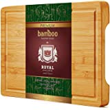 Organic Bamboo Cutting Board with Juice Groove - Best Kitchen Chopping Board for Meat (Butcher Block) Cheese and…