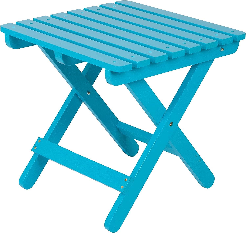 Shine Company Inc 4109TQ Adirondack Square Folding Side Table, Turquoise