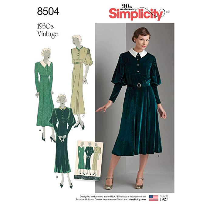 1940s Fabrics and Colors in Fashion Simplicity Vintage US8504P5 Misses Vintage Dress Pattern P5 (12-14-16-18-20) $11.94 AT vintagedancer.com
