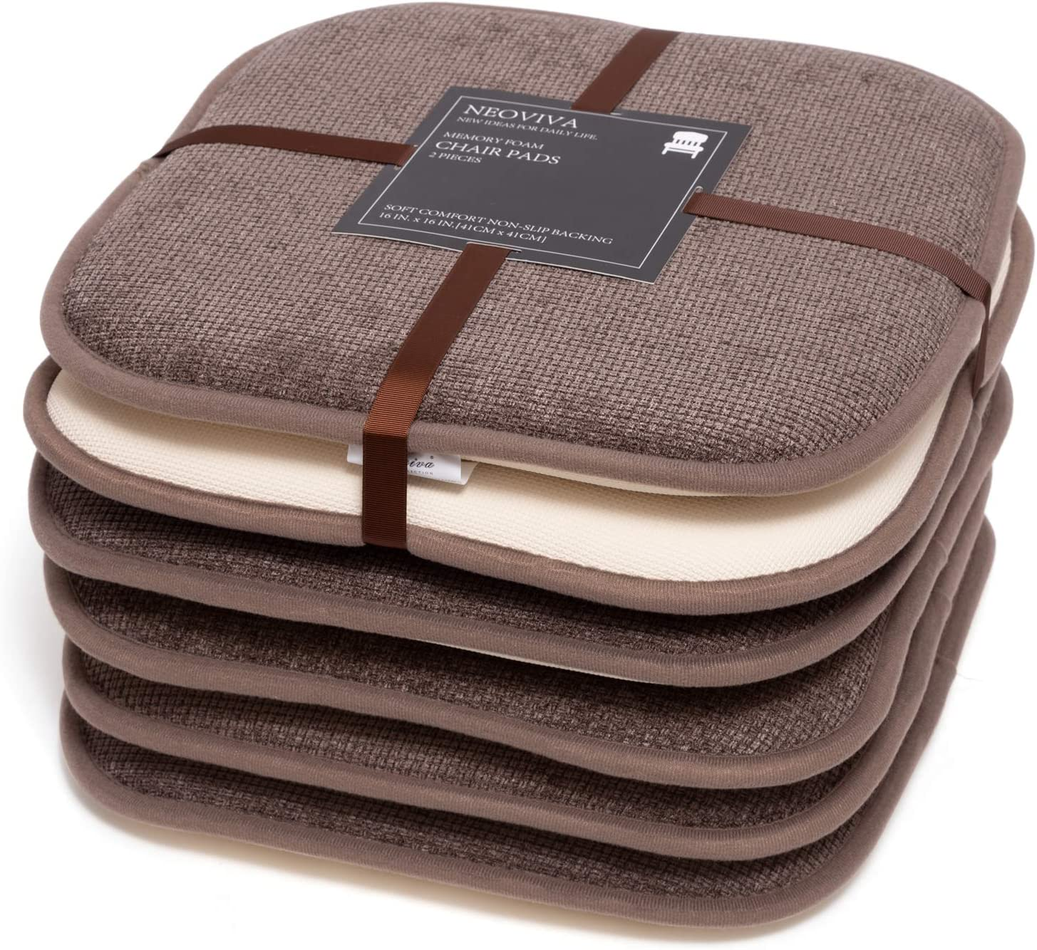 NEOVIVA Memory Foam Kitchen Chair Pads with Non Slip Backing, 6 Pack Seat Cushion for Everyday Dining, Woodsmoke Brown