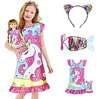 KeeFsion Camisón para niñas pequeñas camisón de varios colores Shorties Kids Princesas Nightdress Ropa de dormir para…