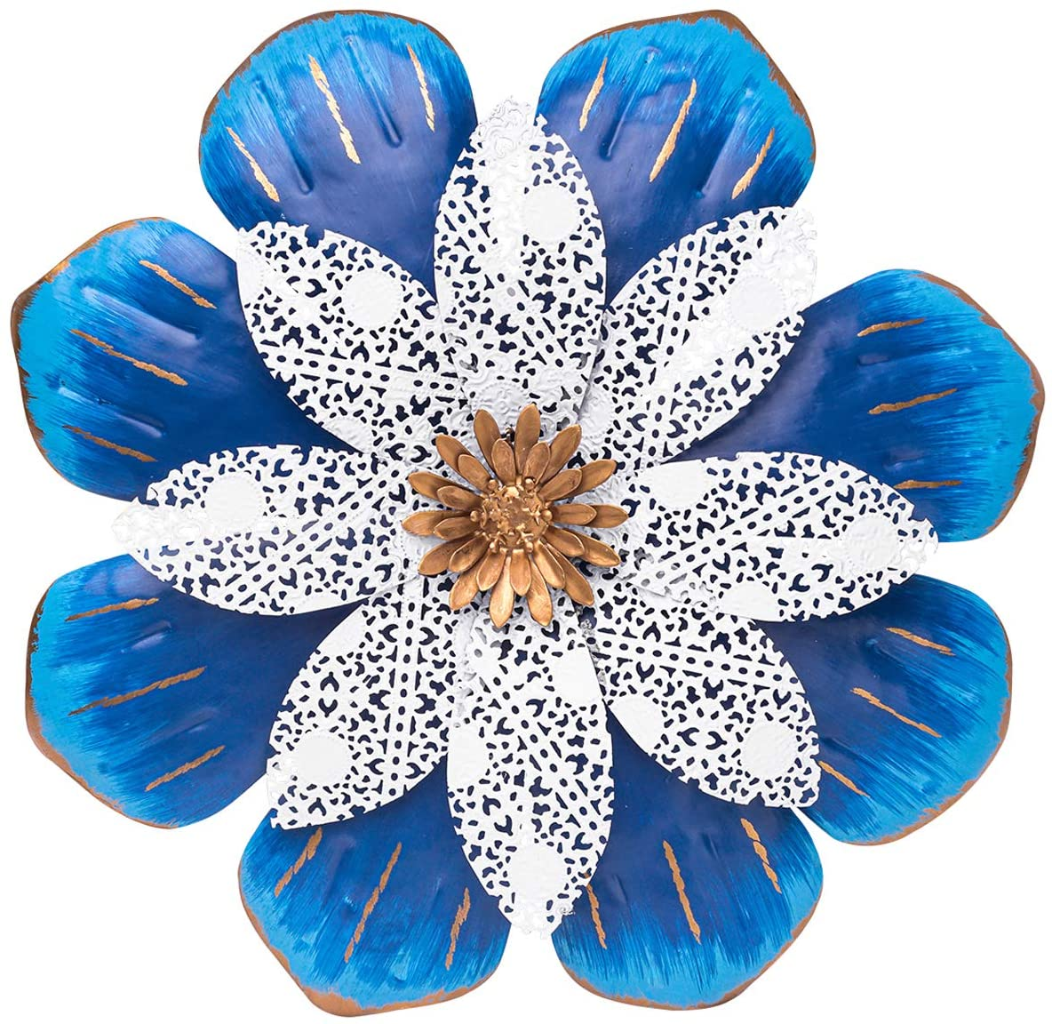 SONGXIN Metal Flower Wall Decoration Fall Autumn Outdoor Indoor Decor for Bathroom Living Room Bedroom or Porch Patio Fence Garden Colorful Wall Sculptures(13 Inch Blue and White)