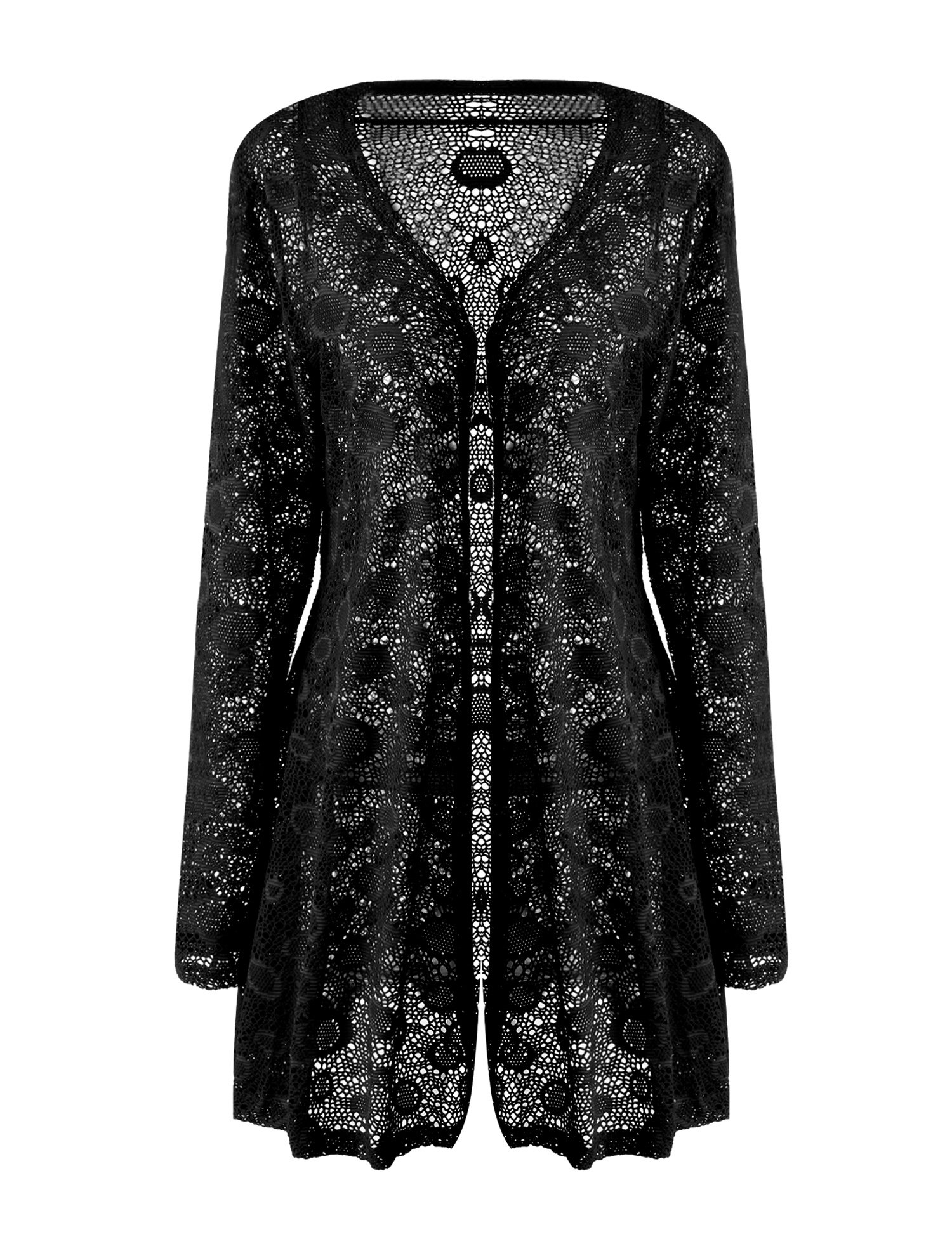 Meaneor Women's Sexy Lace Crochet Sheer Long Sleeve Open Front Cardigan Coat Style-1 Black XL
