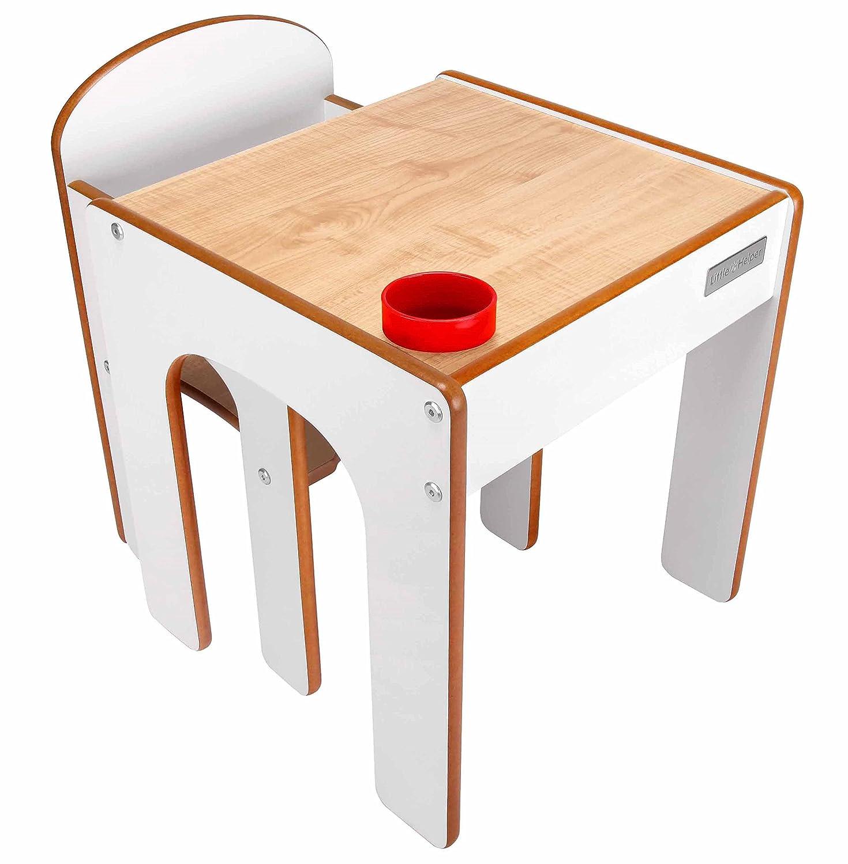Little Helper - Juego de escritorio y silla para niño (con boté para lápices), color blanco FS01W