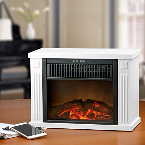 "Amazon.com: AKDY 13"" White Color Freestanding Tabletop 2 Setting Portable Mini Electric Fireplace Heater Stove w/ Log Set 3D Flame Effect: Home & Kitchen"